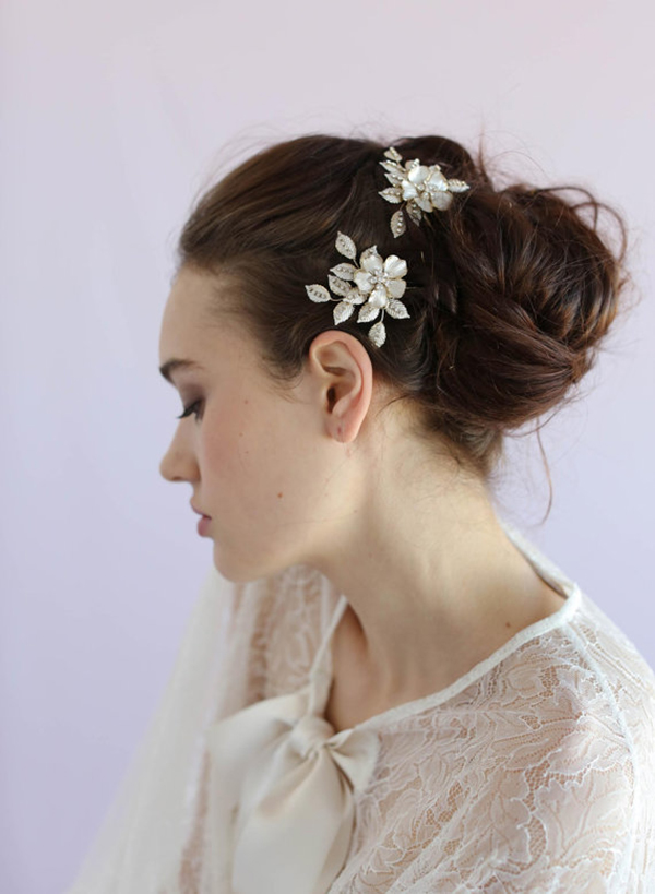 Crystal speckled blossom and leaf bobby pin pair