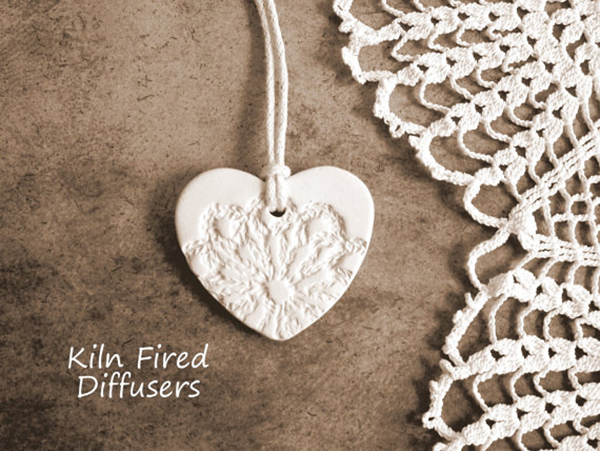 White Lace Clay Heart