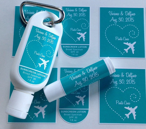 Personalized Destination Wedding Sunscreen