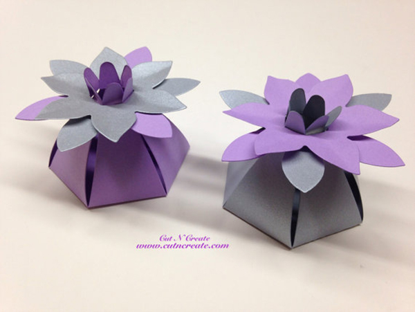 Silver and Purple Wedding Favor Boxes