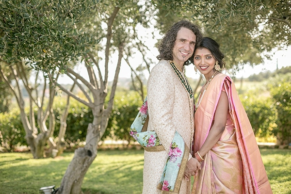 Gorgeous Indian Greek Wedding With Colorful Flowers In Kefalonia
