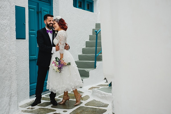 Romantic spring wedding in Ios with white and purple hues | Stavroula & Sofianos