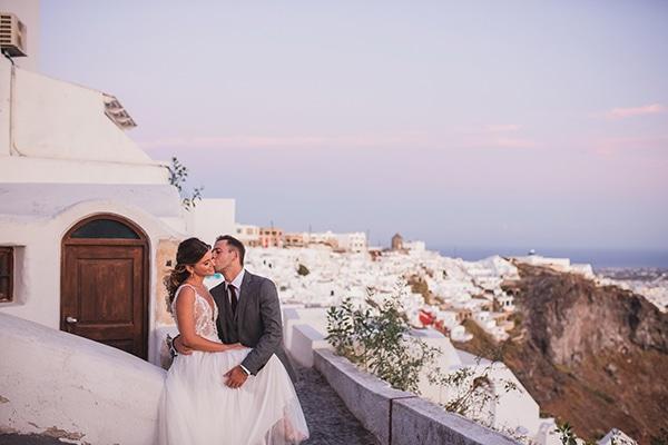 Intimate blue and white wedding in Imerovigli Santorini │ Katerina & Ilias