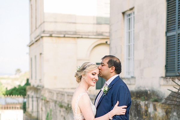 Intimate wedding in Corfu with timeless white and romantic dusty blues │ Olga & Rohan
